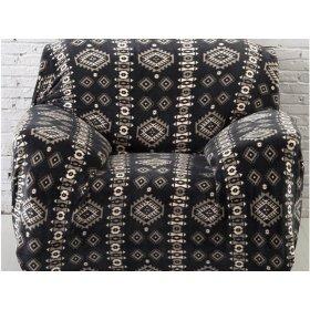 Чехол на трехместный диван HomyTex 195х230 замш с принтом черный ромб