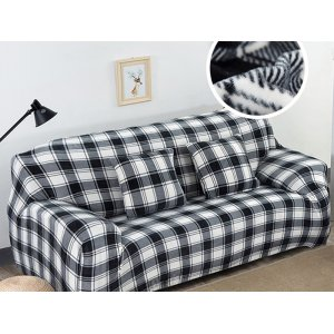 Чохол на тримісний диван 195х230 замш з принтом Клітина чорно-біла