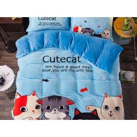 Постельное белье Cute cat евро размер 200х230