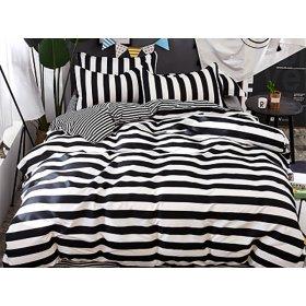 Полуторное постельное белье Black and white strip 150х200