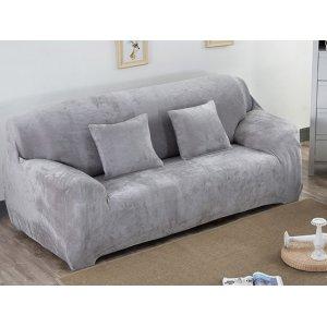 Чохол на тримісний диван 195х230 замш сірий