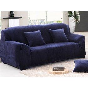 Чехол на трехместный диван HomyTex 195х230 замш синий