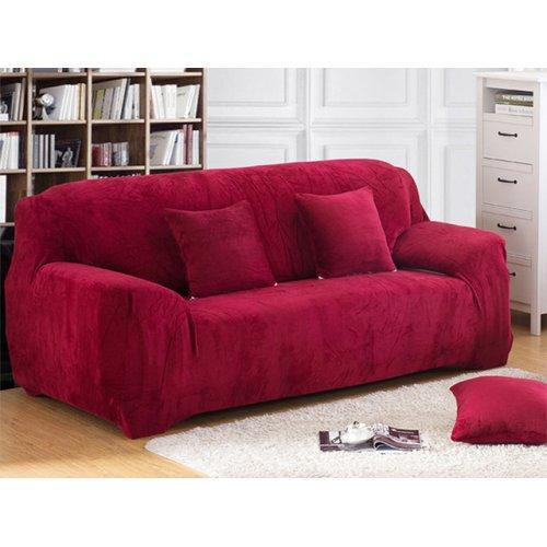 Чехол на трехместный диван HomyTex 195х230 замш бордовый