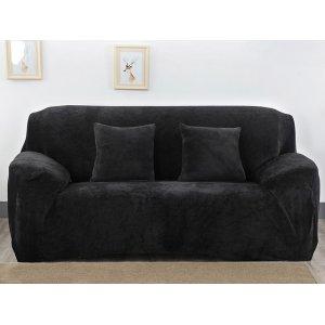 Чохол на тримісний диван 195х230 чорний замш