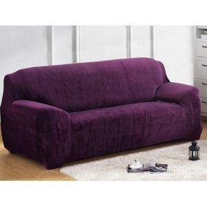 Чохол на тримісний диван 195х230 замш фіолетовий