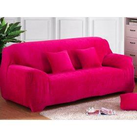 Чехол на трехместный диван HomyTex 195х230 замш фуксия