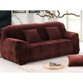 Чехол на двухместный диван HomyTex 145х185 замш коричневый
