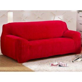 Чехол на трехместный диван HomyTex 195х230 замш красный