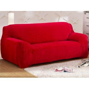 Чохол на тримісний диван 195х230 замш червоний
