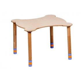 Стол фигурный индиго/натуральное дерево