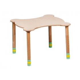 Стол фигурный зеленый/натуральное дерево