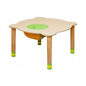 Стол круглый зеленый/натуральное дерево