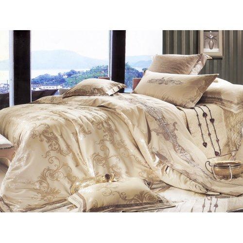Полуторный жаккардовый комплект постельного белья 3D-035