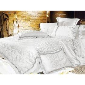 Полуторный жаккардовый комплект постельного белья 3D-052