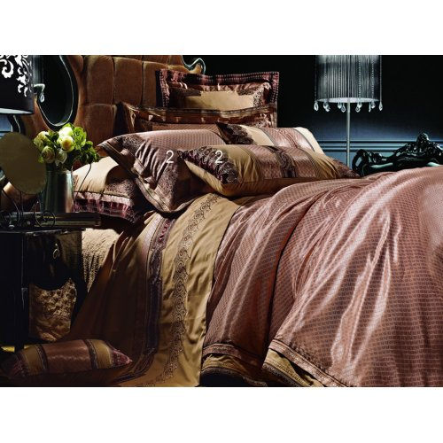 Полуторный жаккардовый комплект постельного белья 3D-057