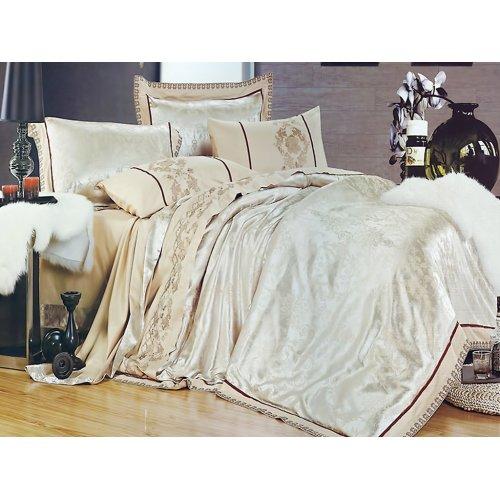 Полуторный жаккардовый комплект постельного белья 3D-070