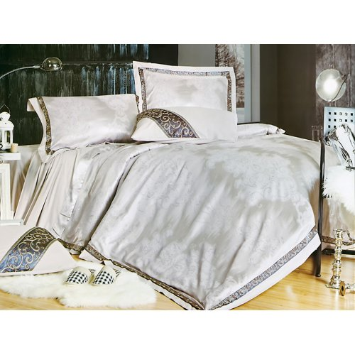 Полуторный жаккардовый комплект постельного белья 3D-071