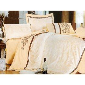 Полуторный жаккардовый комплект постельного белья 3D-073