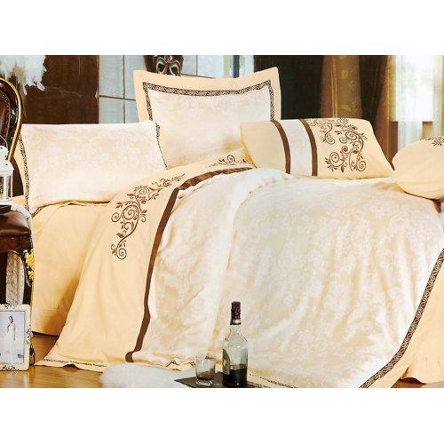 Двуспальный жаккардовый комплект постельного белья 3D-073