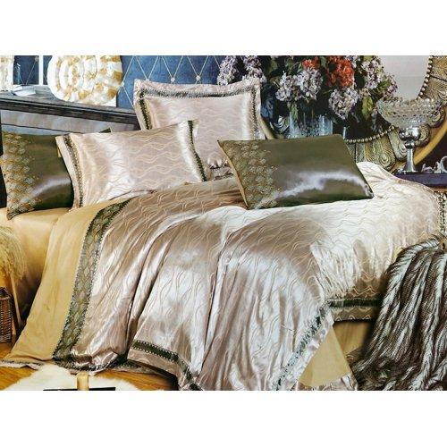 Полуторный жаккардовый комплект постельного белья 3D-074