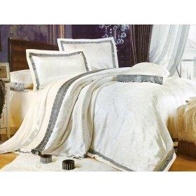 Полуторный жаккардовый комплект постельного белья 3D-075