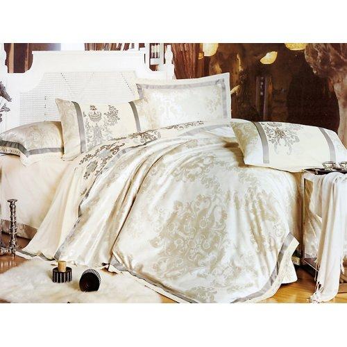 Полуторный жаккардовый комплект постельного белья 3D-077