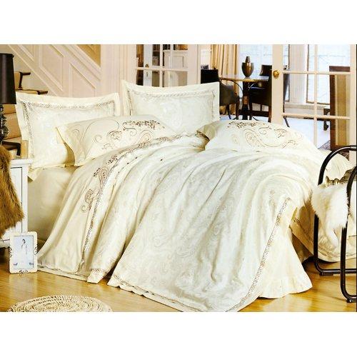 Полуторный жаккардовый комплект постельного белья 3D-079