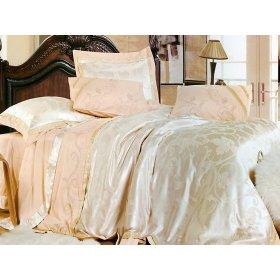 Полуторный жаккардовый комплект постельного белья 3D-081