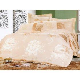 Полуторный жаккардовый комплект постельного белья 3D-084