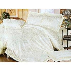 Полуторный жаккардовый комплект постельного белья 3D-085
