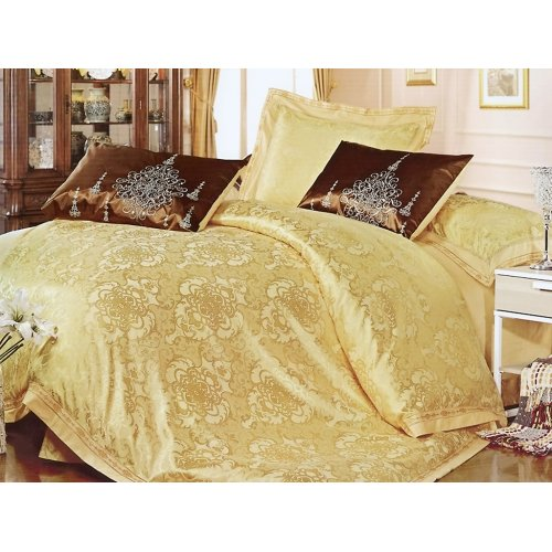 Полуторный жаккардовый комплект постельного белья 3D-086