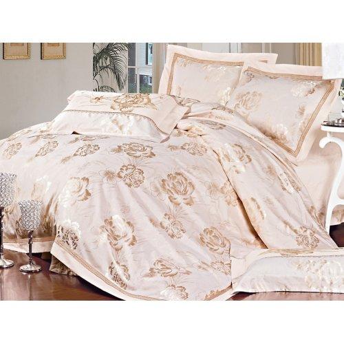 Полуторный жаккардовый комплект постельного белья 3D-088