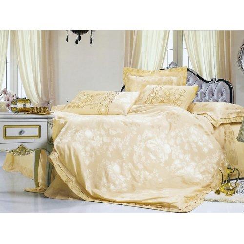 Полуторный жаккардовый комплект постельного белья 3D-089