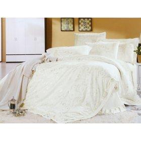 Двуспальный жаккардовый комплект постельного белья 3D-090