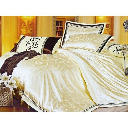 Полуторный жаккардовый комплект постельного белья 3D-091