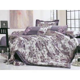 Полуторный жаккардовый комплект постельного белья 3D-093