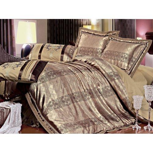 Полуторный жаккардовый комплект постельного белья 3D-094