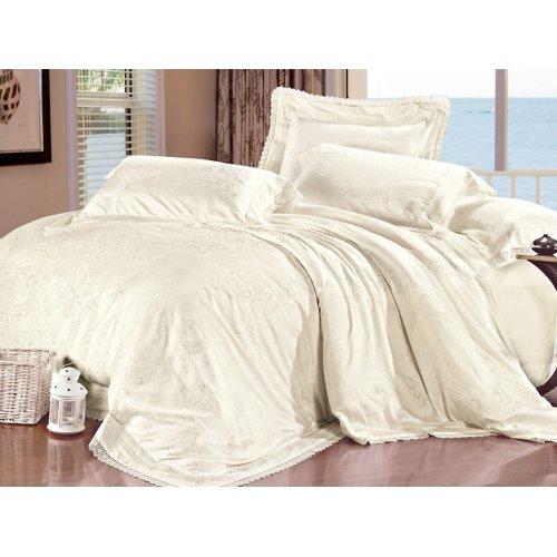 Полуторный жаккардовый комплект постельного белья Lux-03