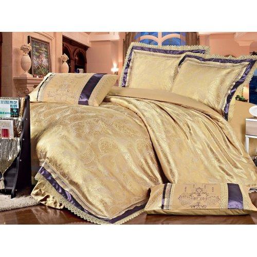 Полуторный жаккардовый комплект постельного белья Lux-04