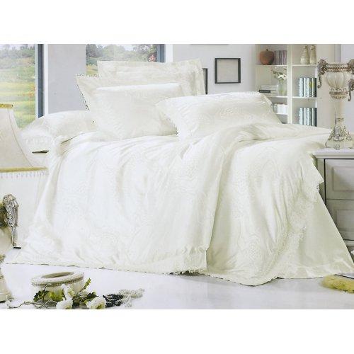 Полуторный жаккардовый комплект постельного белья Lux-07