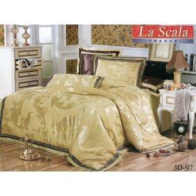 Двуспальный жаккардовый комплект постельного белья 3D-097