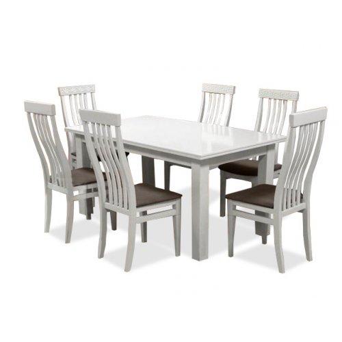 Комплект обеденный стол Классик + 6 стульев Версаль слоновая кость