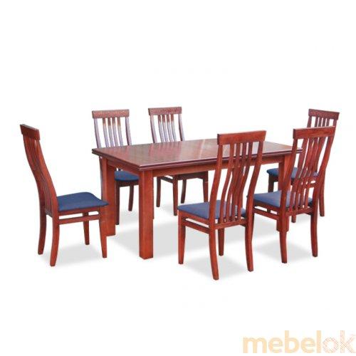Комплект обеденный стол Классик махонь + 6 стульев Версаль