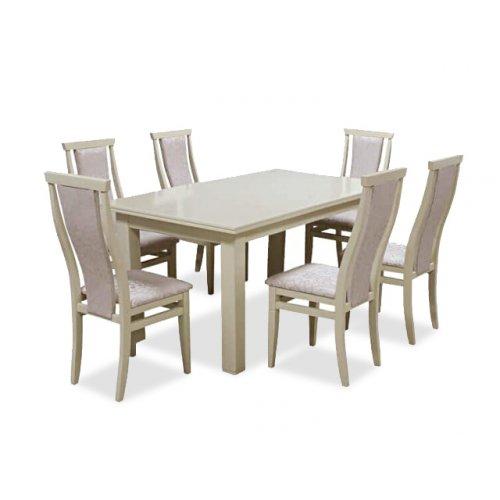 Комплект обеденный стол Классик слоновая кость + 6 стульев Марэк 3