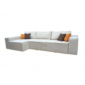 Угловой диван Бугатти в ткани хоней дк браун + хоней оранж