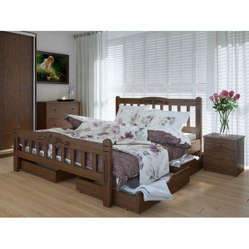 Кровать Лузиана люкс 140х200 с ящиками ясень