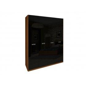 Шкаф четырехдверный без зеркал Белла черный глянец-вишня бюзум