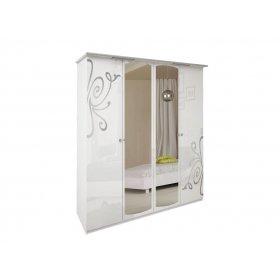 Шкаф четырехдверный Богема белый глянец
