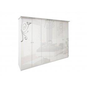 Шкаф шестидверный Богема белый глянец без зеркал