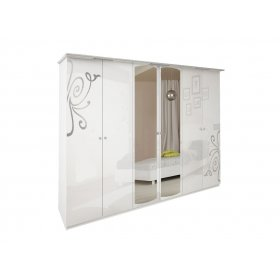 Шкаф шестидверный Богема белый глянец